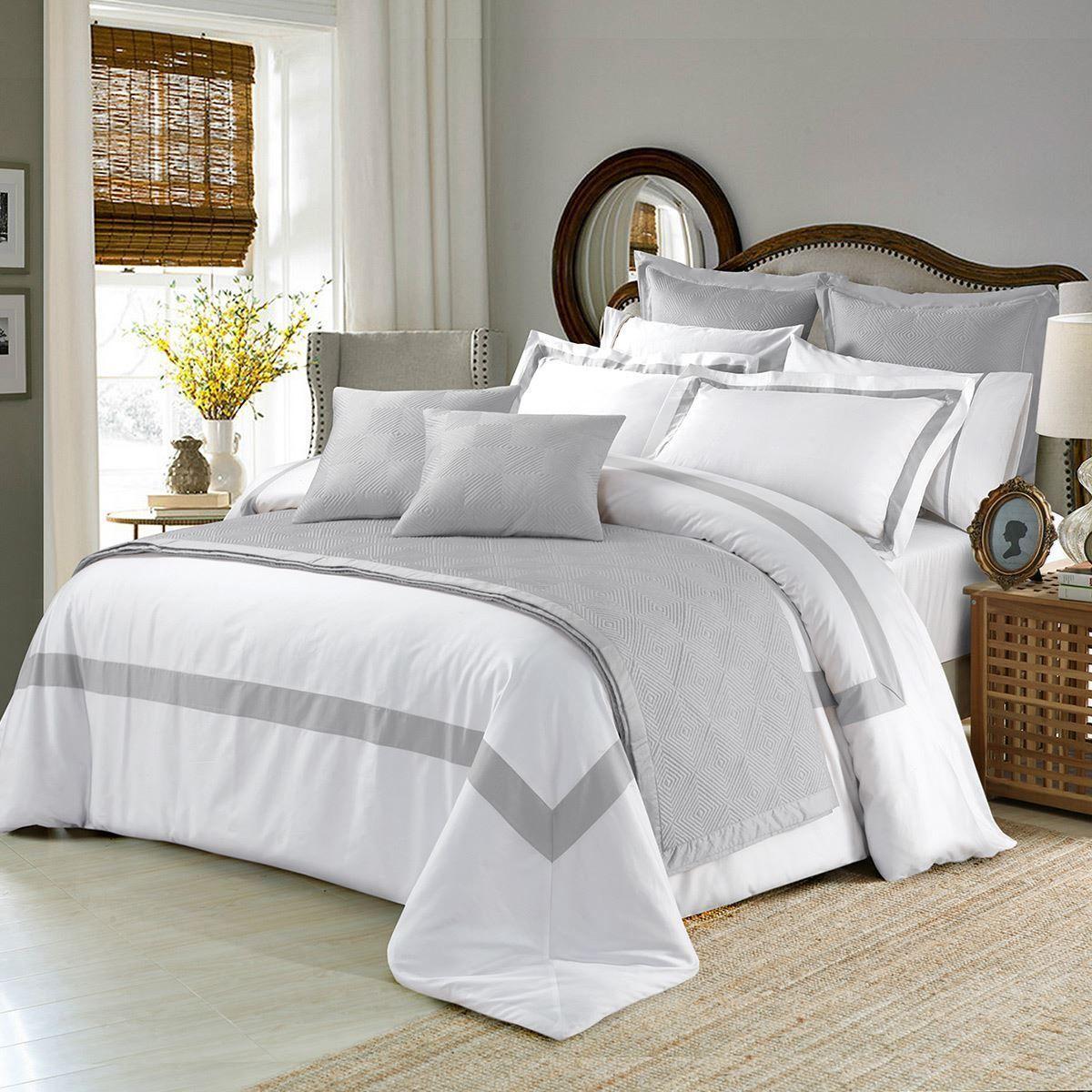 Best Cotton Ash Grey White Bedspread Sheet Pillows Bed 400 x 300