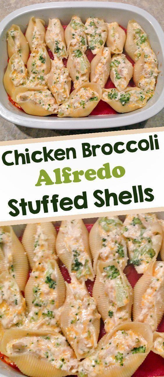 Chicken and Broccoli Alfredo Stuffed Shells #meals