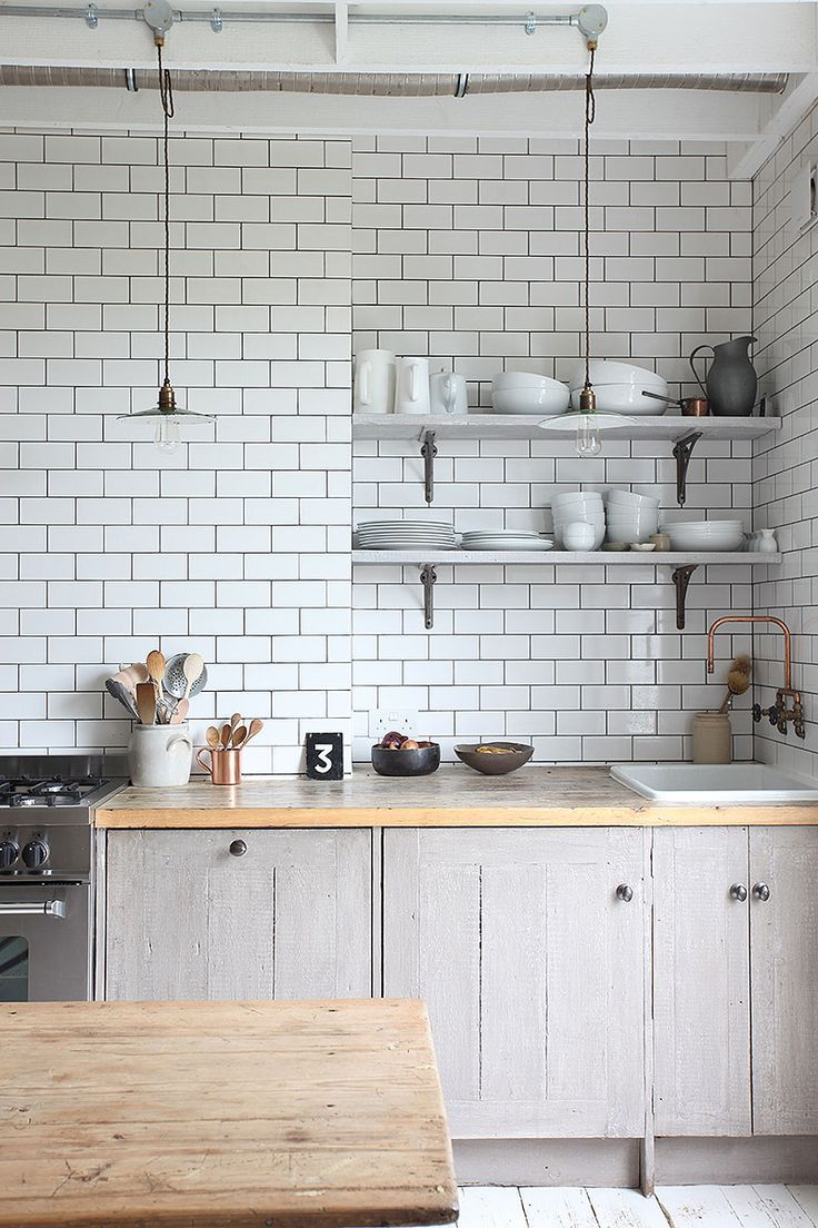 a light filled london flat  metro tiles kitchen unit and bright - lighting flat this is flat lighting because there is almost no color andthe