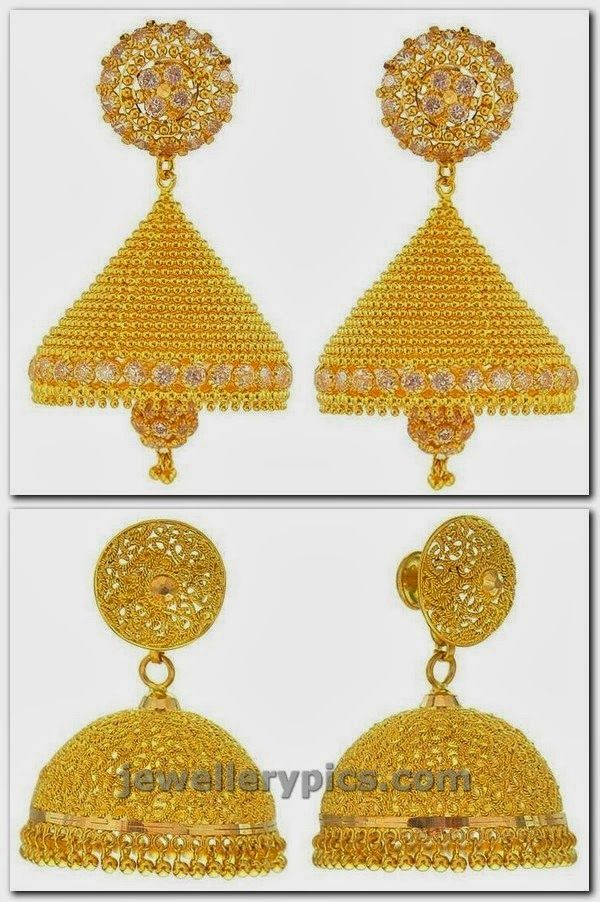 Gold CZ Jhumka Earring Designs | Gold, Jewel and Kerala jewellery