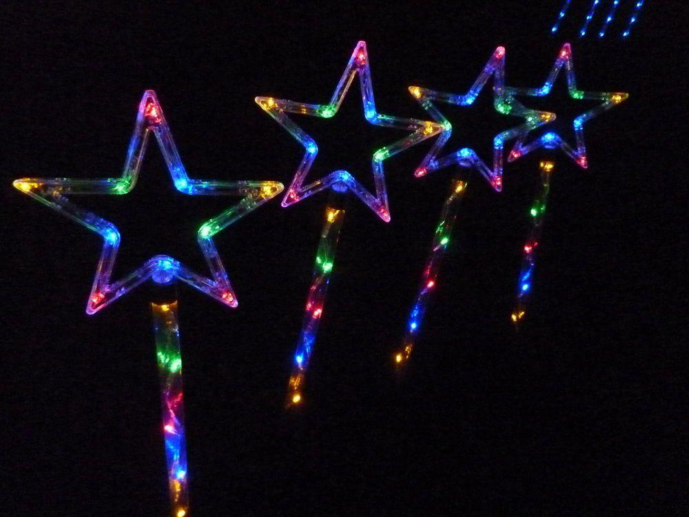 Details About 4 Pcs 60 Led Mulit Coloured Star Solar Christmas Garden Lights Solar Led Lights Outdoor Solar Led Colour Star