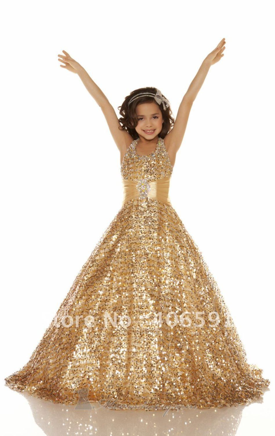 new style gold color girls pageant dresses long lace in