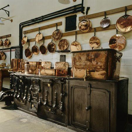 Kitchen at Lanhydrock, Cornwall, England.