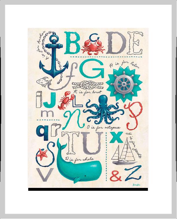 Nautical ABCs, Beach & Ocean Art Prints   Oopsy daisy