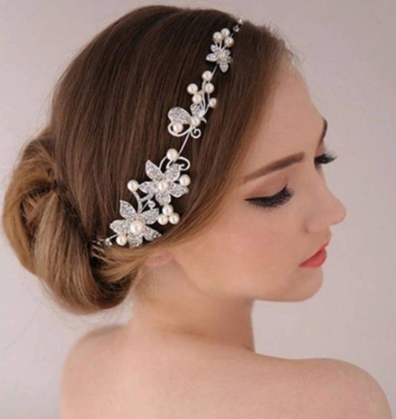 Bridal Bridesmaid Crystal Flower Hair Slide Comb Wedding Tiara Headdress