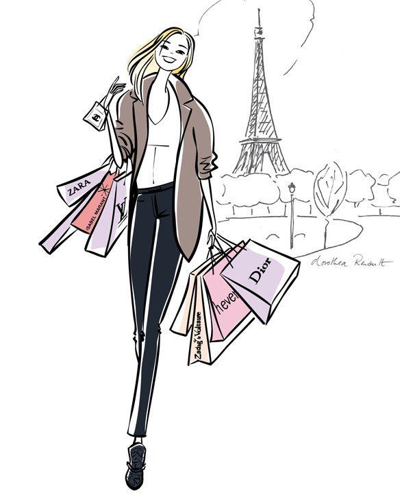 Dessin Shopping pinkimberly rochin on shopping image's | paris illustration
