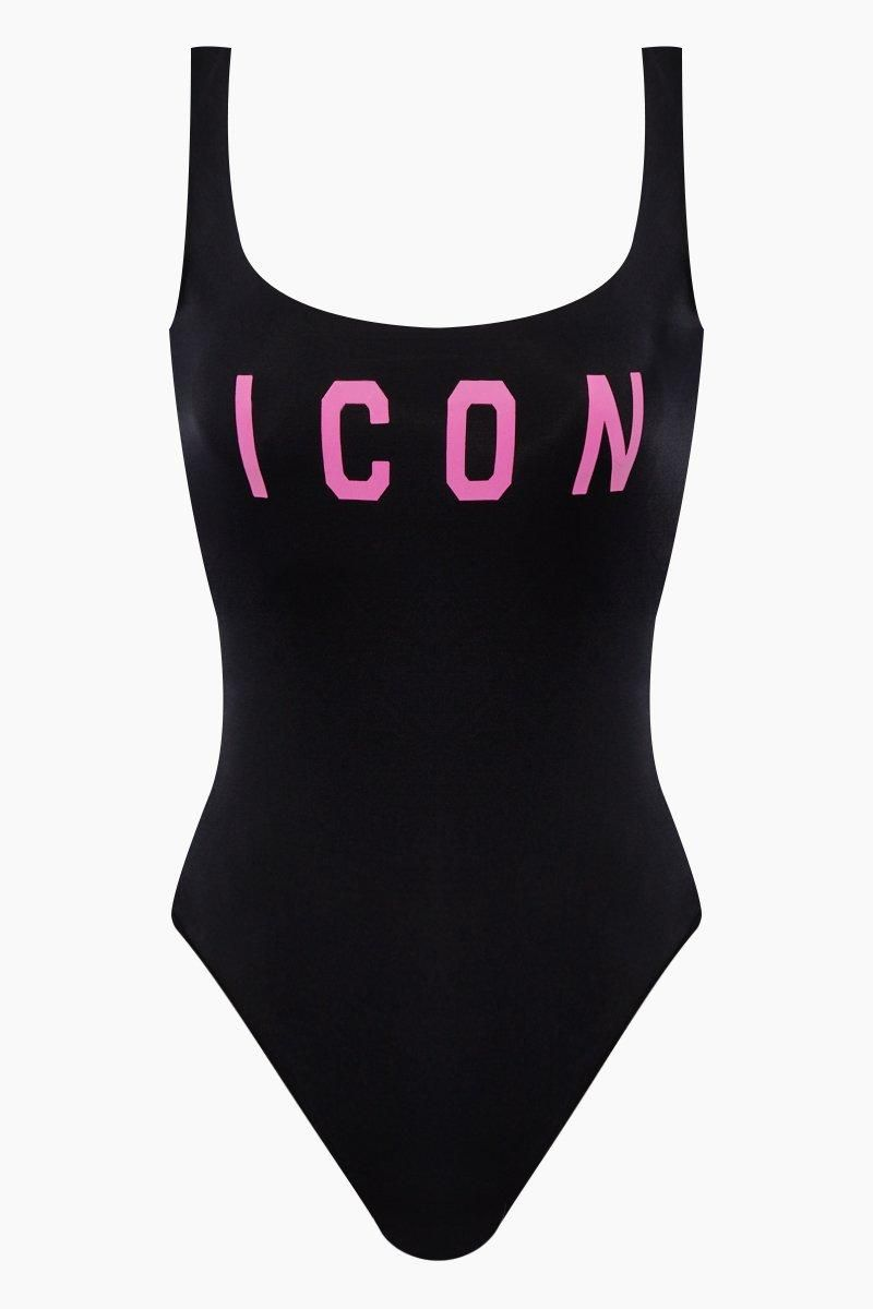 51bc1815fac13f #EnvyWe #Bikini - #DSQUARED2 Icon Low Back One Piece Swimsuit -  Black/Fuchsia Pink - EnvyWe.com