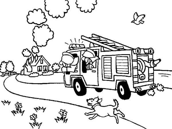 Fireman On The Way To House Fire Coloring Page