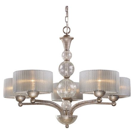 Chandelier with pleated shades and stacked orb accents. Product ...
