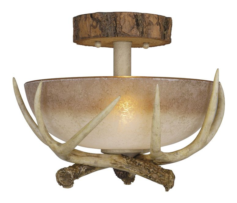 Shop For The Vaxcel Lighting Noachian Stone Lodge 2 Light Semi Flush Indoor Ceiling  Fixture With Frosted Glass Shade   12 Inches Wide And Save.