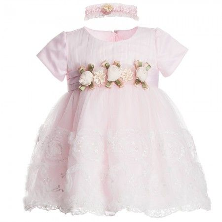 75e343e4a839 Baby Girls Pink Lace Dress   Headband Set