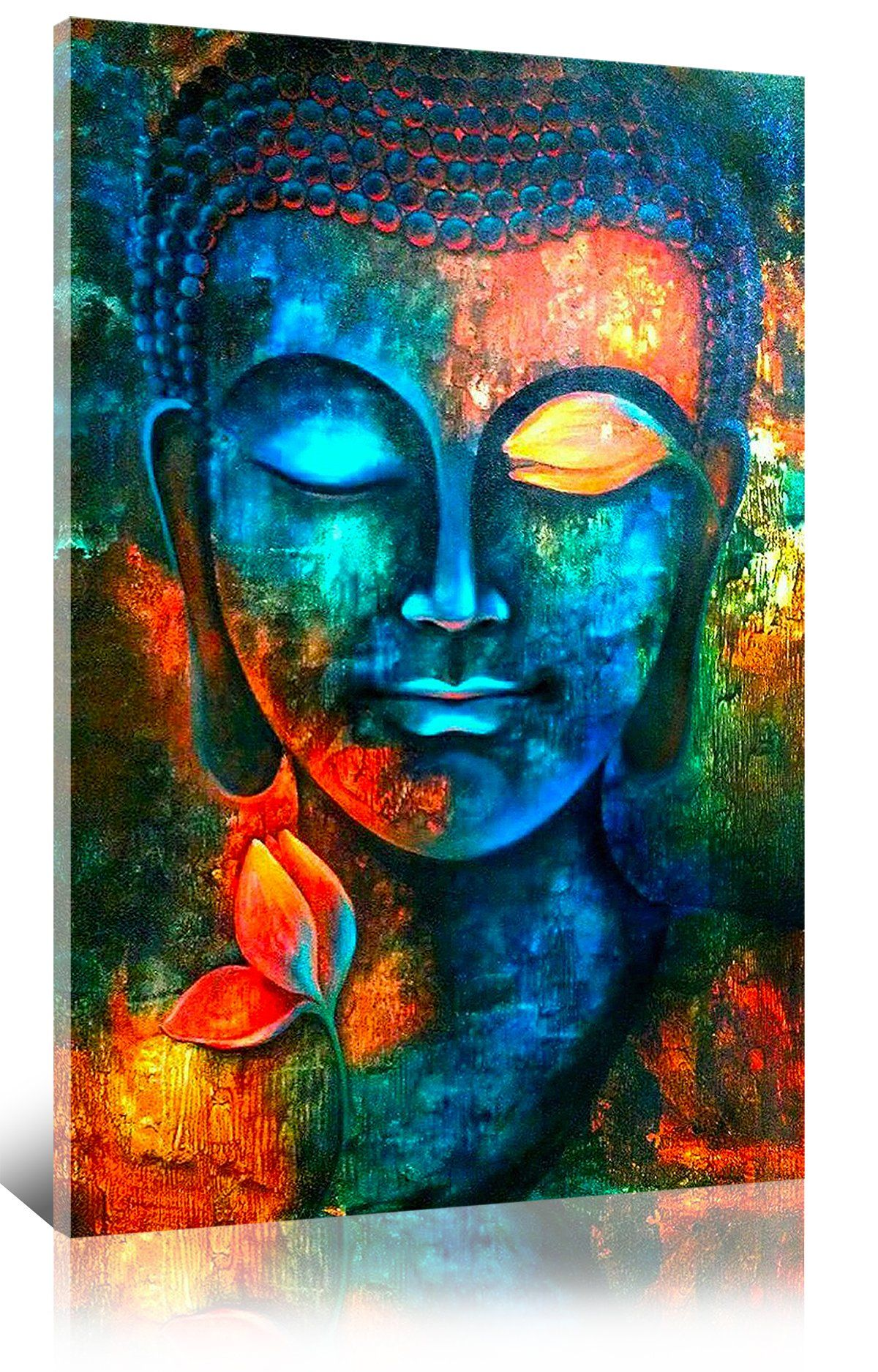 Sunfrower Artcolorful Abstract Blue Buddha With Lotus Modern Home Decor Canvas Print Painting Wall Art Picture For Liv Buddha Art Buddha Painting Spiritual Art