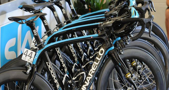 Team Sky's Pinarello Dogma 2 machines, lined up from 2012 (Alex Dowsett, now with Movistar's bike at the front)