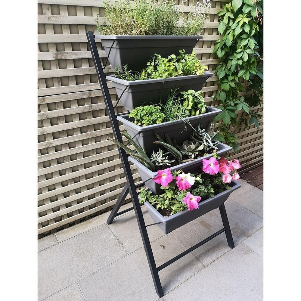 Hotham Freestanding Vertical Garden With 5 Self Watering Pots Charcoal Charcoal Charcoalcharcoal Freestan Vertical Garden Self Watering Pots Self Watering