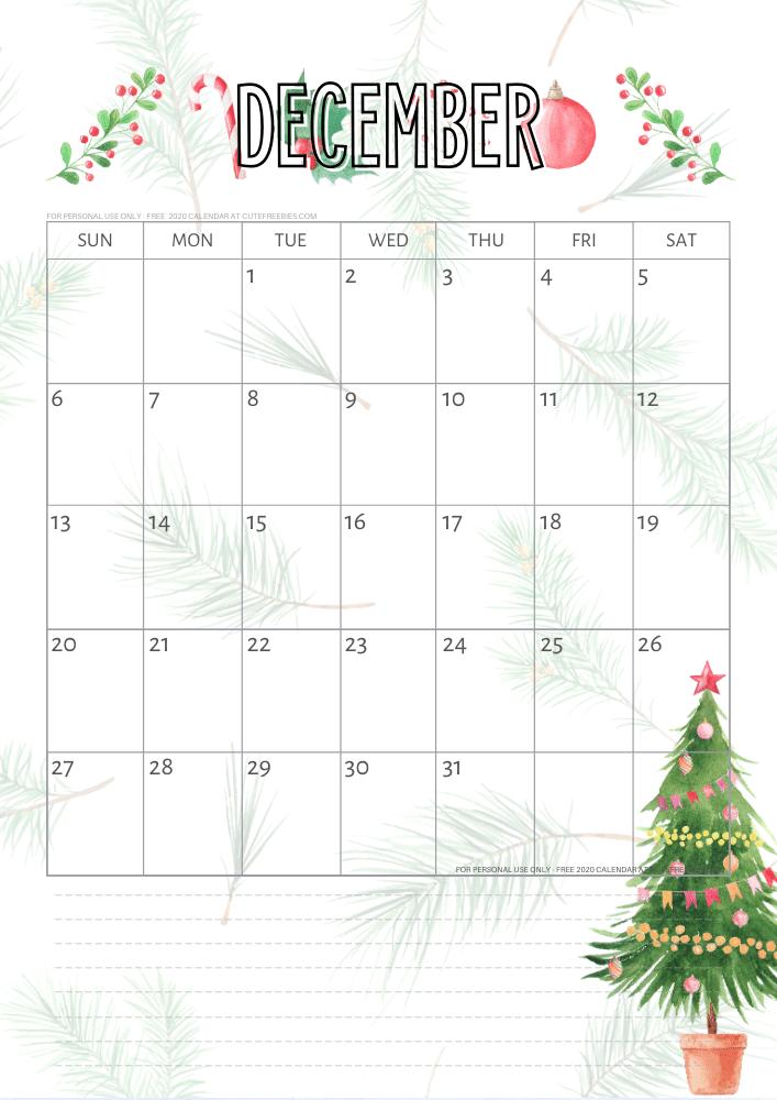 Free Printable December 2021 Christmas Calendar
