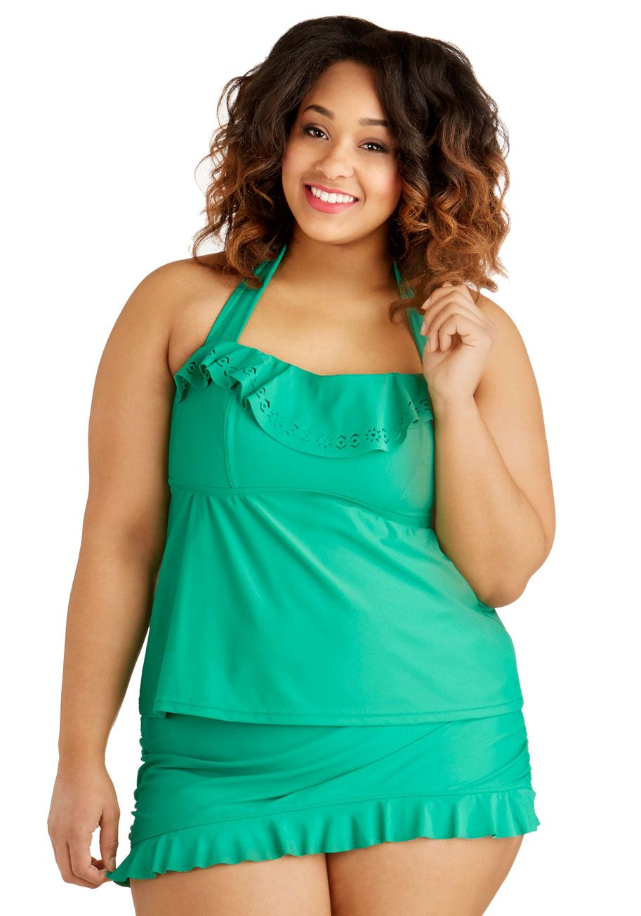 57fea569f9155 Emerald Island Getaway Swimsuit Top in Plus Size. Theres no place like a  white sand coastline with crystal waters and this emerald tankini top! # green # ...