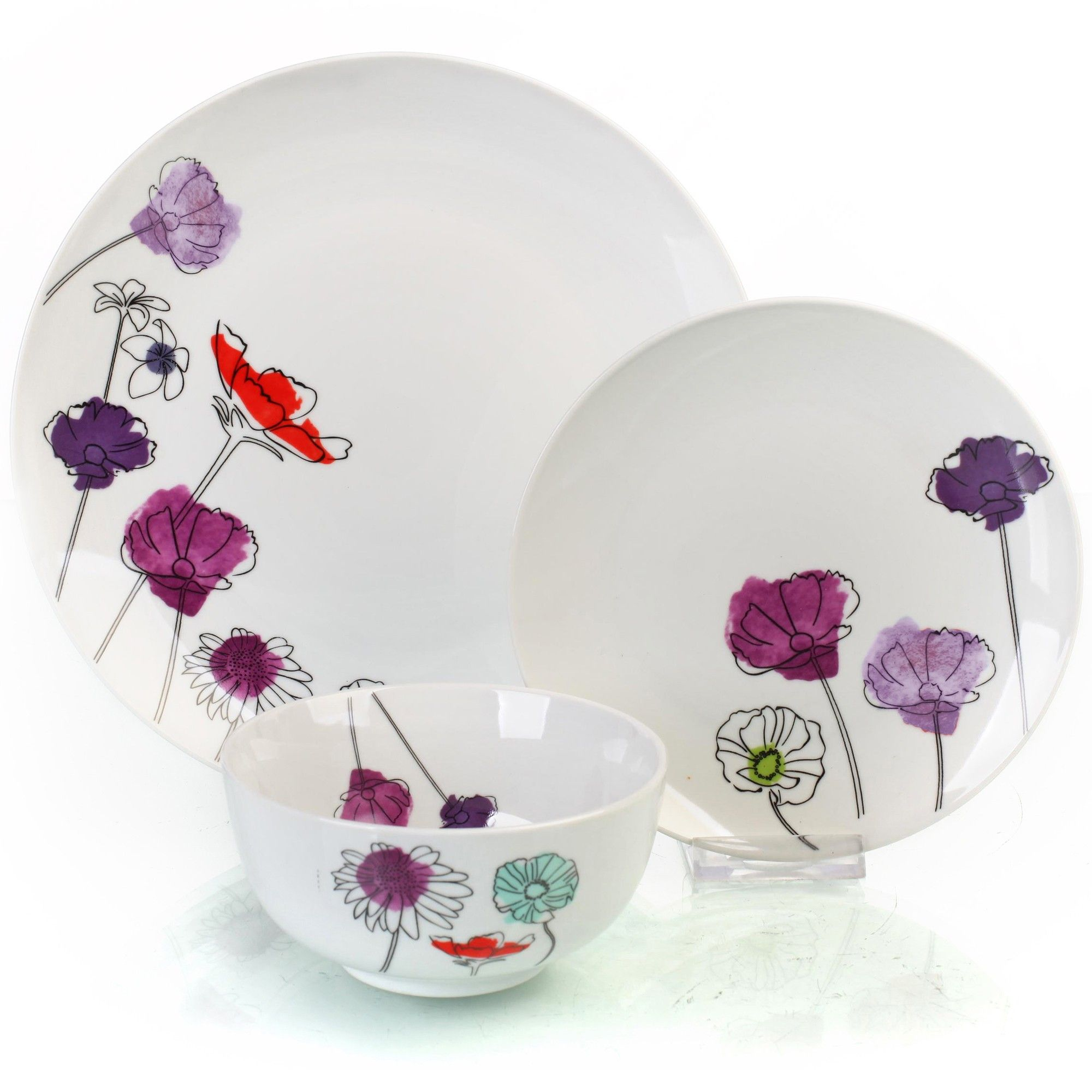 12pc Aster Dinner Set #Sabichi #dinnerware #dining #plates #crockery  #pastels #floral #chintz #cute #lovely #flowers #purple #lilac #lavender  #red #bright