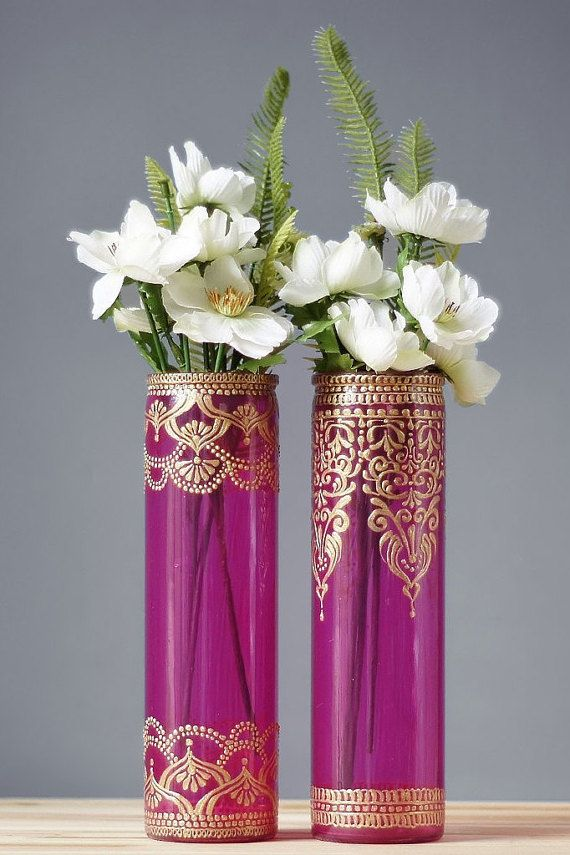 Henna Painted Vases Painted Wedding Vase Hot Pink Glass With Gold