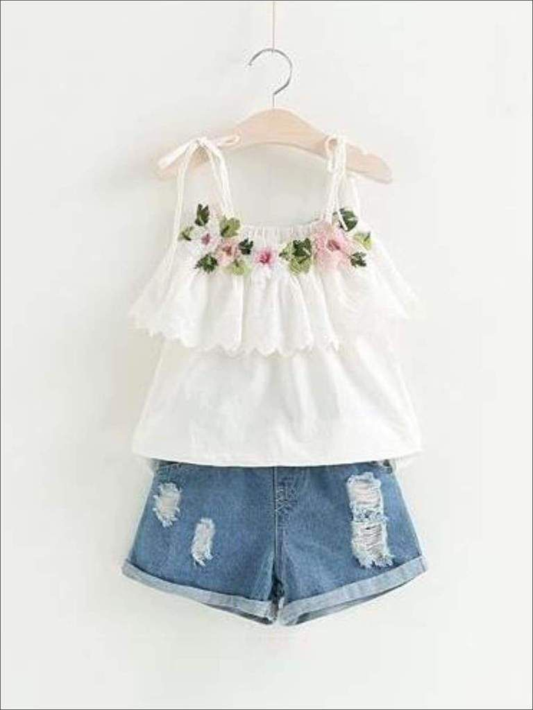 Girls Embroidered Ruffled Tunic & Denim Shorts Set - White / 2T - Casual  Spring Set | Girl outfits, Girls clothing sets, Kids outfits
