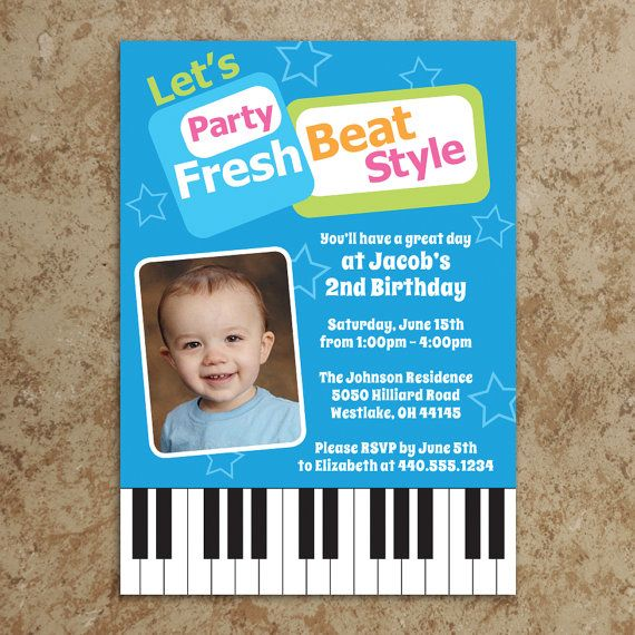 Fresh Beat Band Invitation Fresh Beat by DesignsWithStyle on Etsy - fresh birthday invitation from a kid