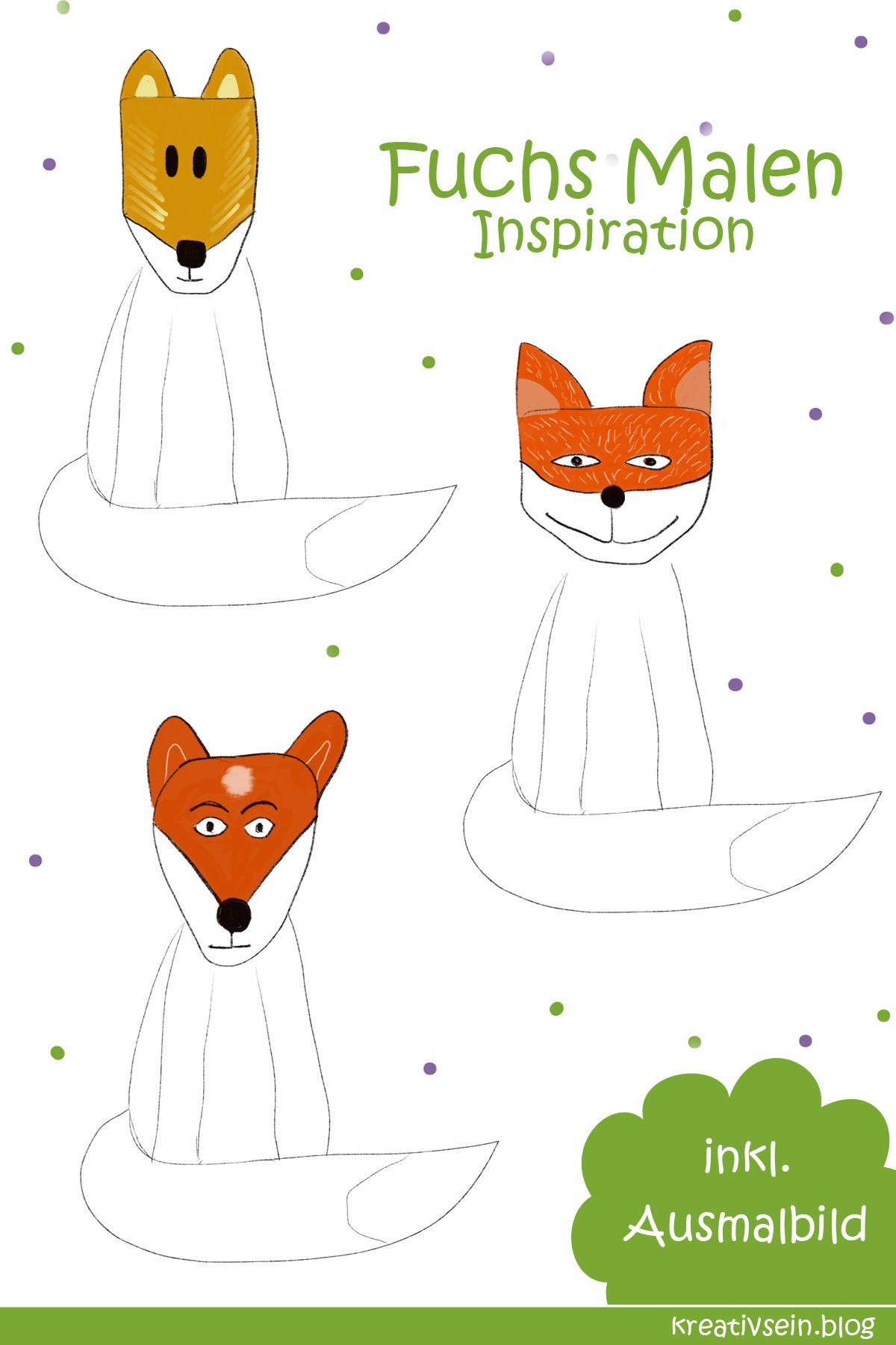 Fuchs Malen Mit Vorlage Geht Es Ganz Einfach Kreativsein Blog Fuchs Fuchs Zeichnen Fuchs Basteln