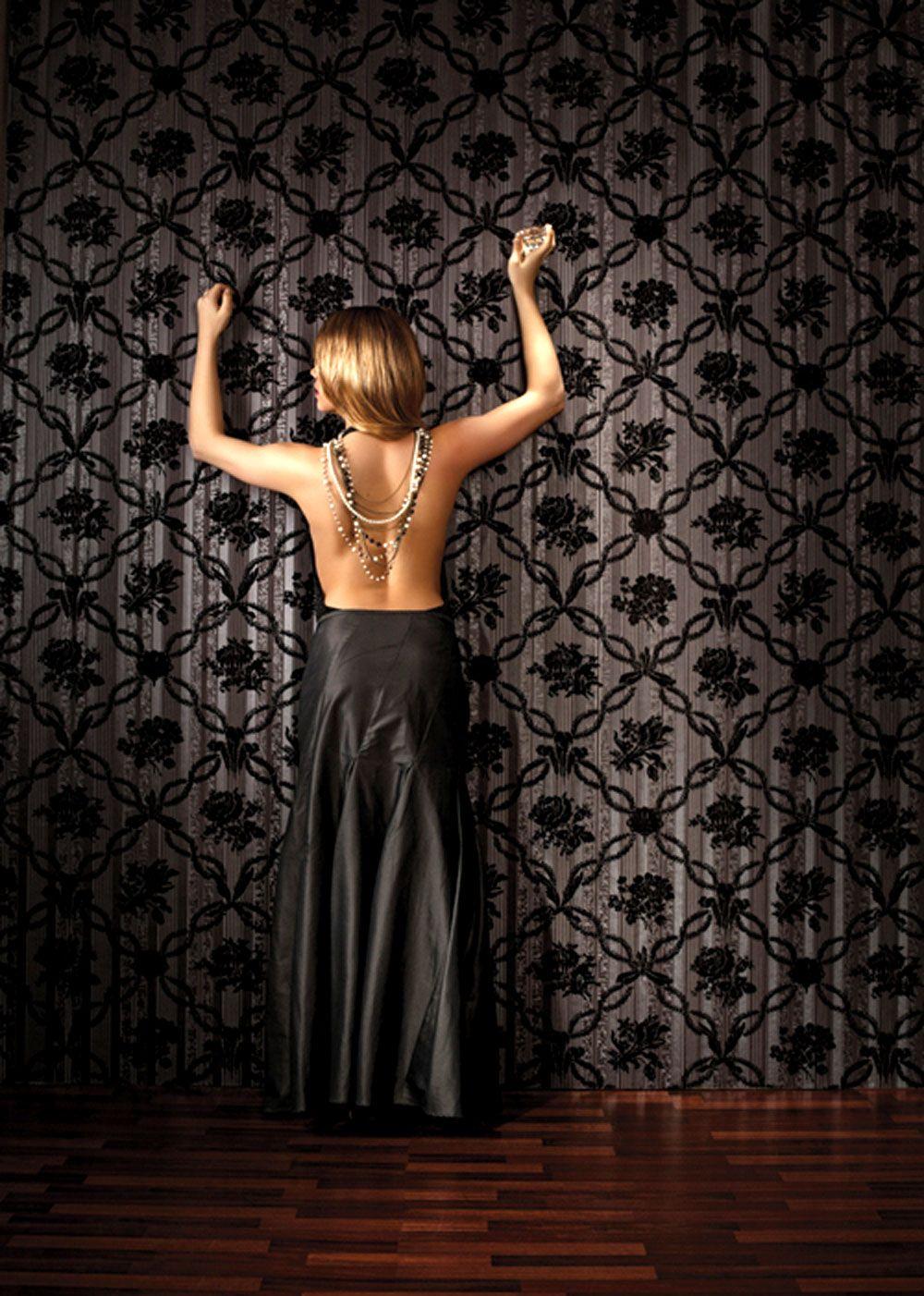 luxustapete stil wall-silk iv muster schwarz barock tapete online ... - Barock Tapete Wohnzimmer Weis