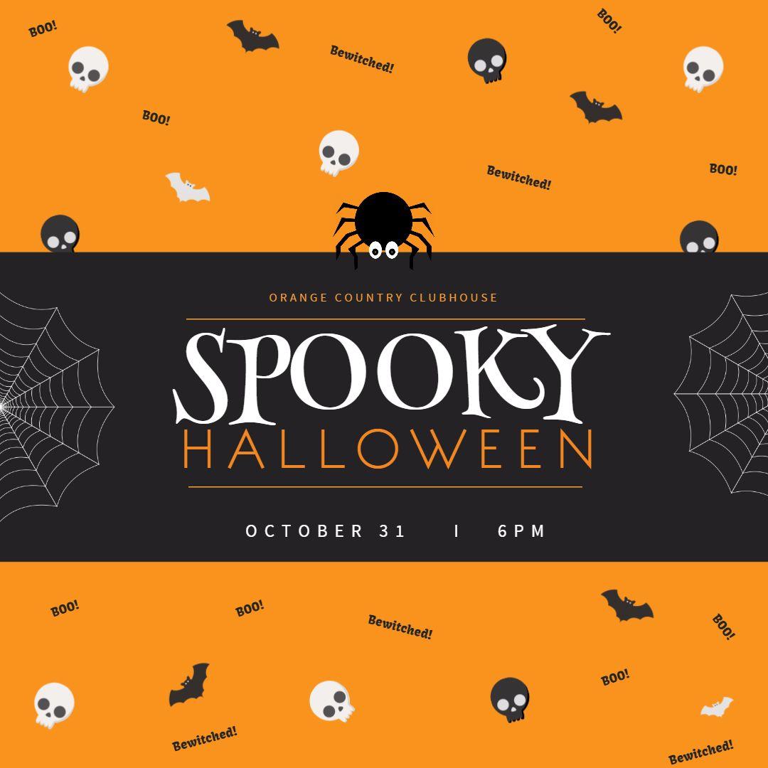 Halloween night costume party social media Instagram post template ...