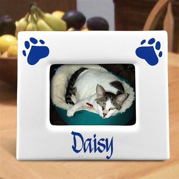 Personalized Horizontal Paw Prints 3 x 5 Ceramic Pet Picture Frames ...