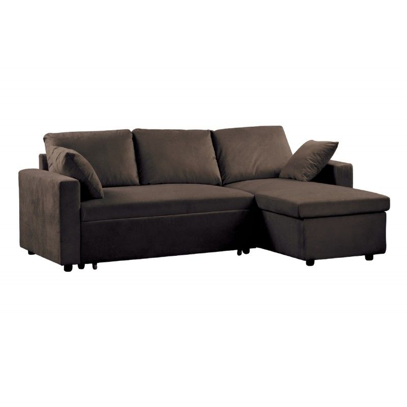 Sofa Bed Corner Montreal Reversible Microfiber Dark Brown 223x146x83