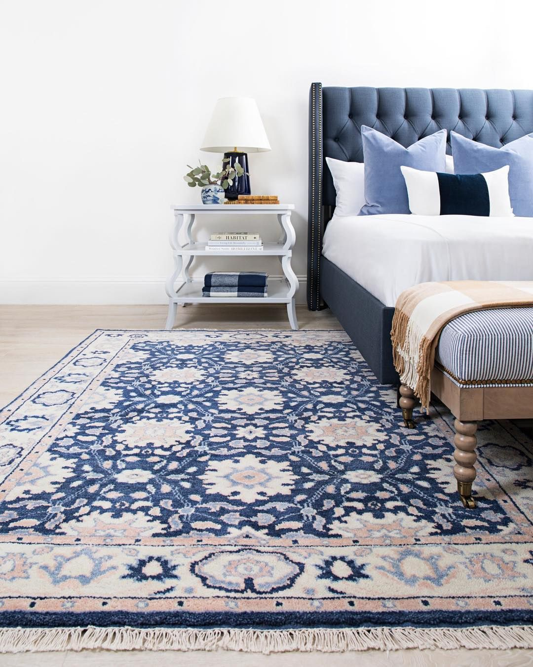Why Not Wake Up Every Morning With A Plush Luxurious Rug Underfoot Classic Navy And Neutrals Make A B Blue Rug Bedroom Blue And White Rug Caitlin Wilson Rugs