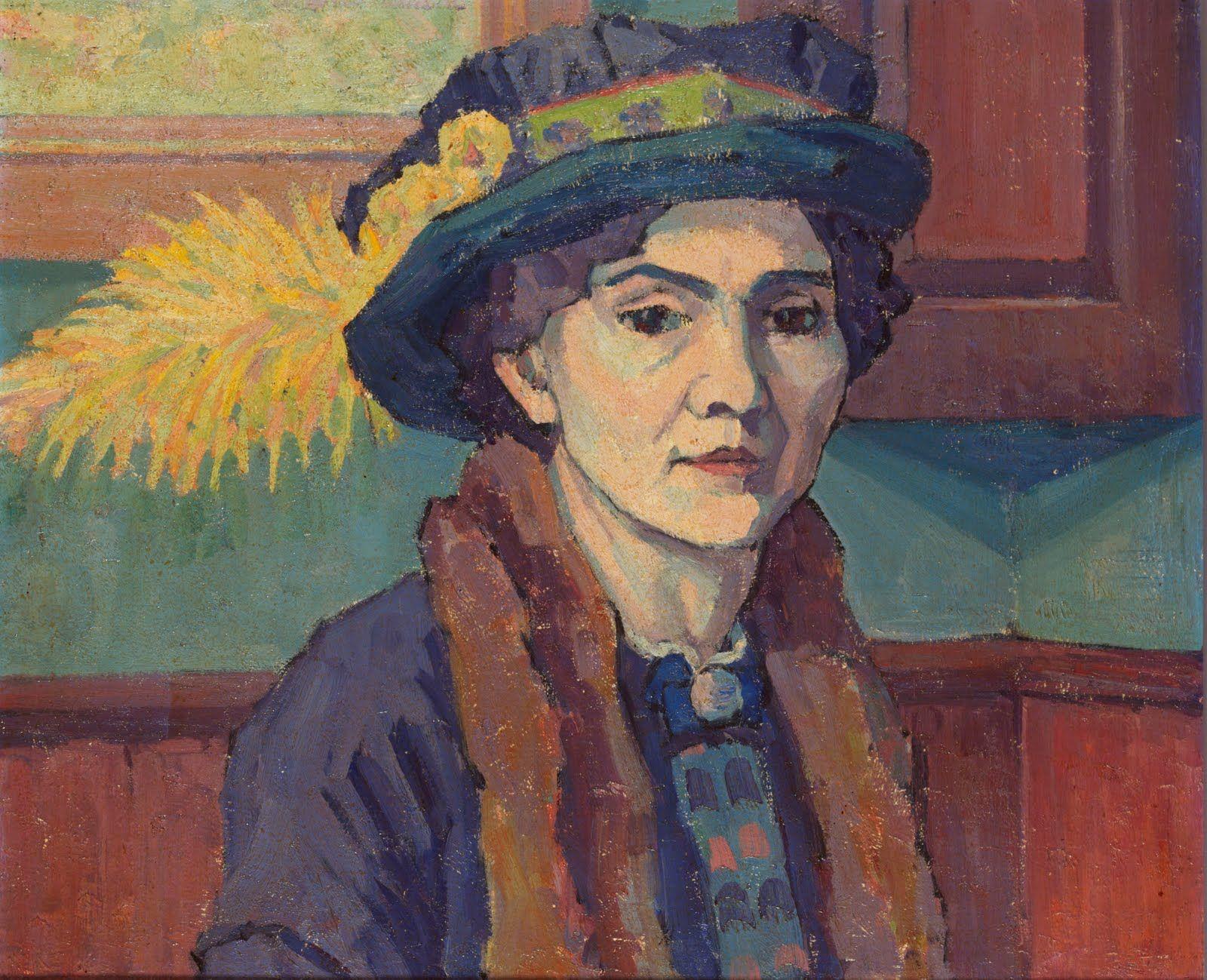 Robert Polhill Bevan 1865 1925 - Feathered Hat Portrait Of Stanislawa De Karlowska