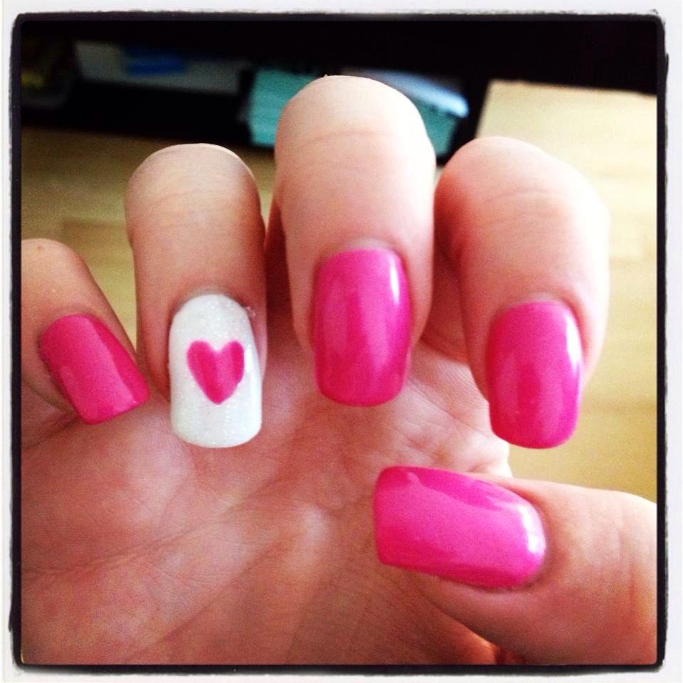 Pink white heart valentines lcn gel nail design | Nail Art | Pinterest
