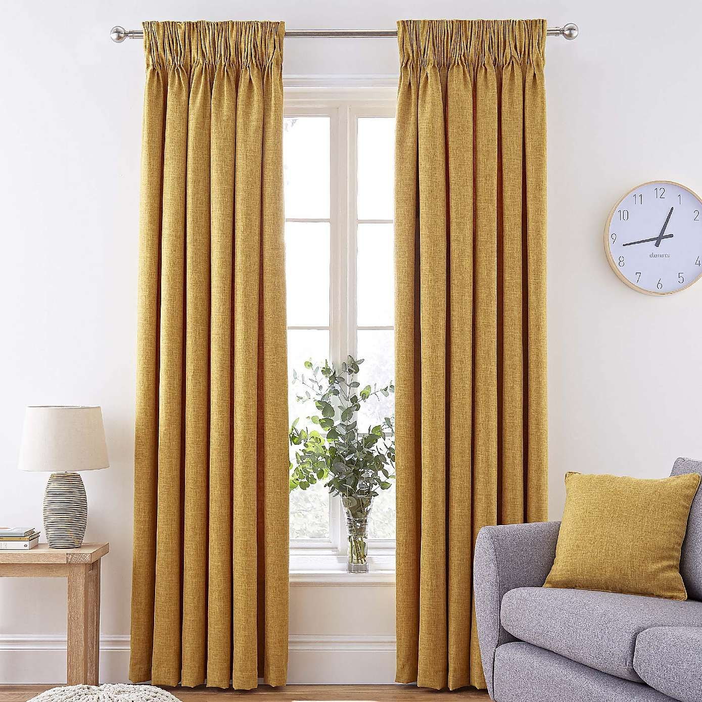 Vermont Mustard Pencil Pleat Curtains Yellow Curtains Living Room Mustard Living Rooms Quality Living Room Furniture #yellow #and #grey #living #room #curtains