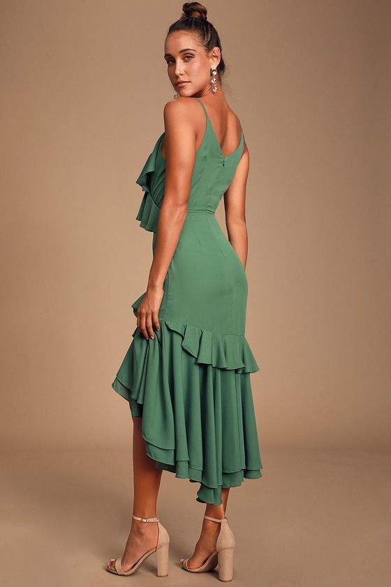 Lulus | Dreamer's Dream Sage Green Ruffled High-Low Dress | Size Small | 100% Polyester #sagegreendress