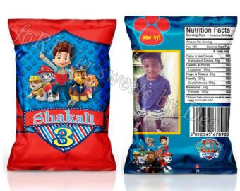 paw patrol inspired chip bags paw patrol inspired favor bags paw patrol inspired treat bags. Black Bedroom Furniture Sets. Home Design Ideas