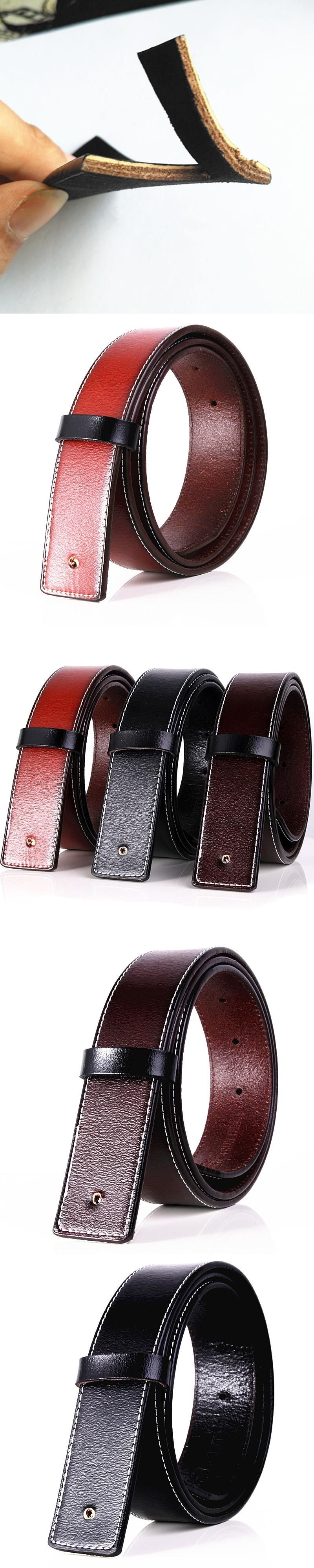 No Buckle 3.7cm Wide Real Genuine Leather Belts Body Strap Designer ... c8ae93431e7