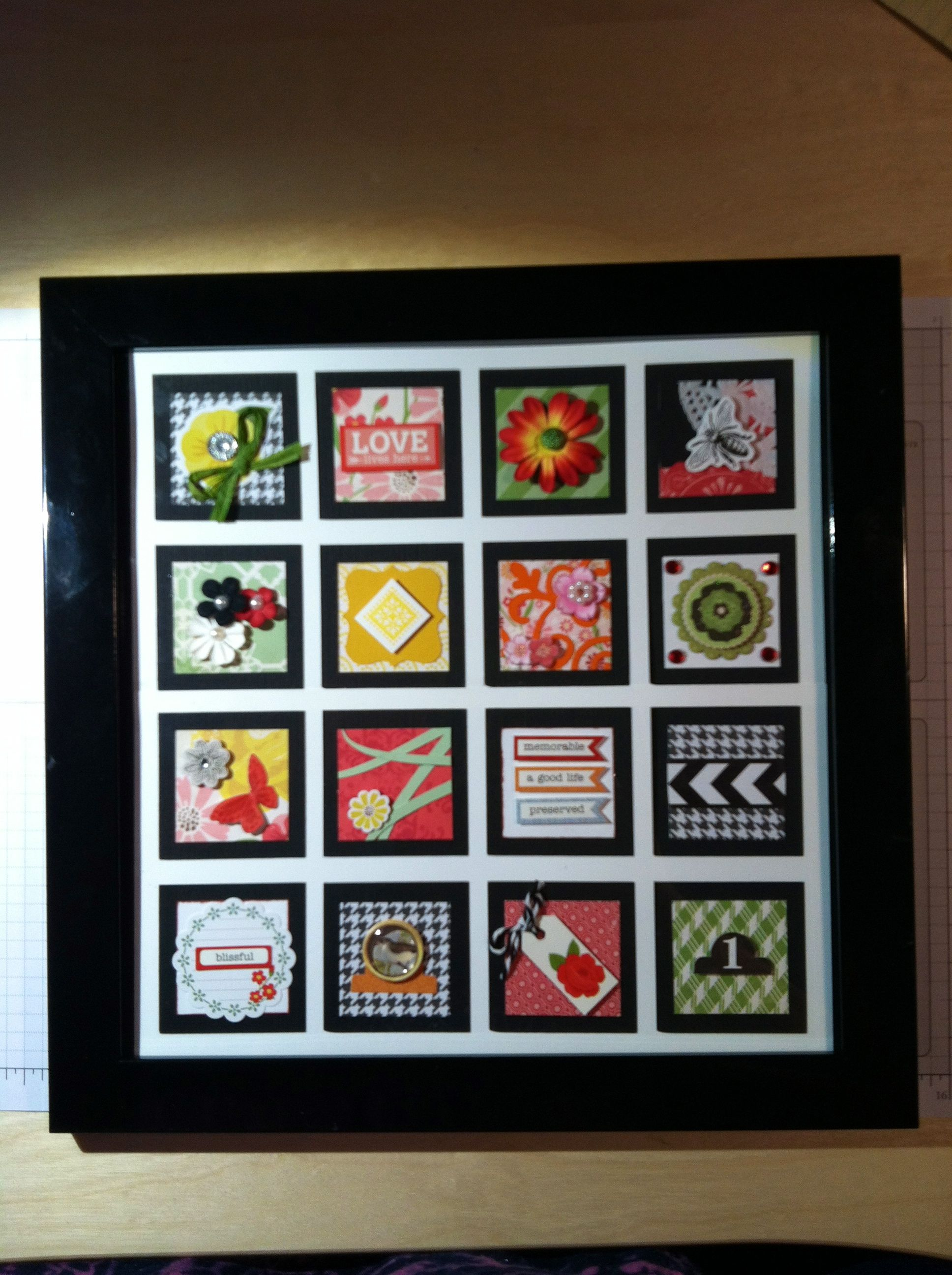 I Just Finished Making Another Inchie Frame Wall Piece This One Has 16 Individually Designed 1 1 2 Inch Square Paper Crafts Paper Craft Making Frames On Wall