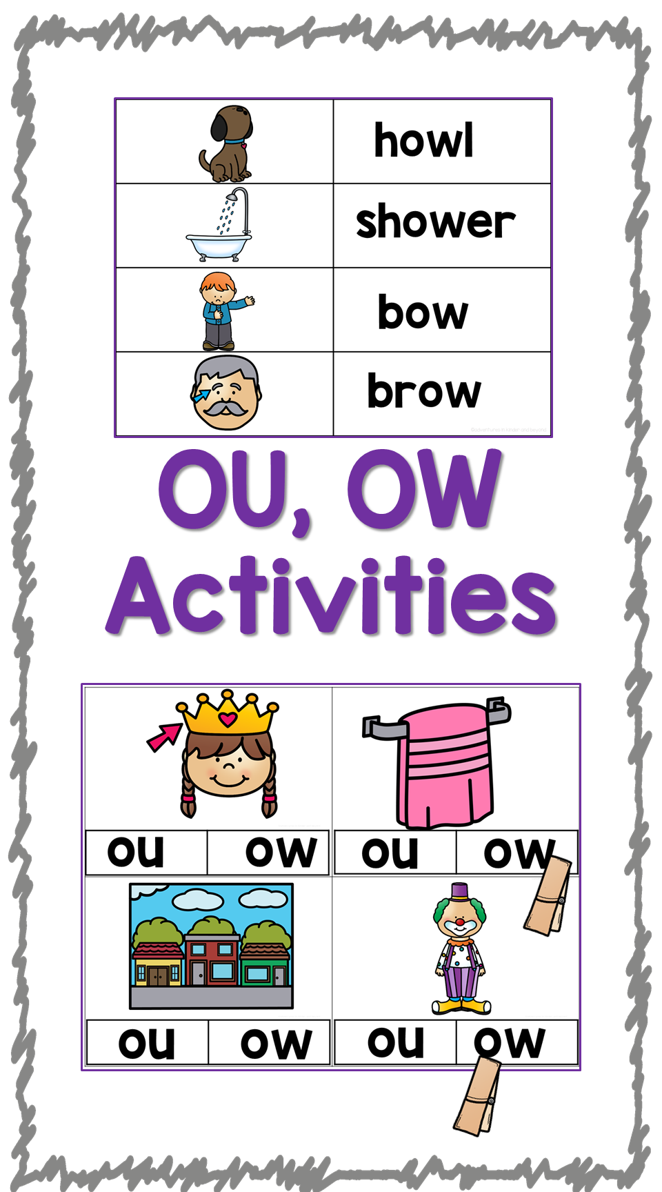 OU OW- Diphthong Activities and Printables   Pocket charts ...