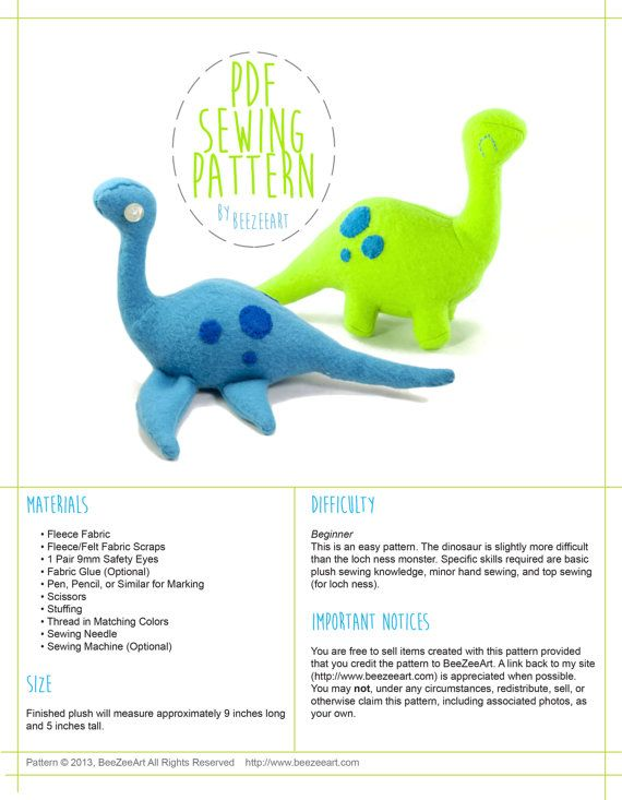 Dinosaur and Loch Ness Monster Stuffed Animal Plush Toy Sewing ...