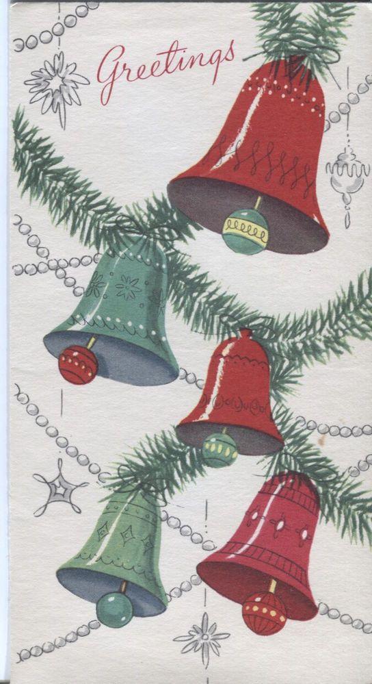 vintage pollyanna christmas card bells and garland - Christmas Pollyanna