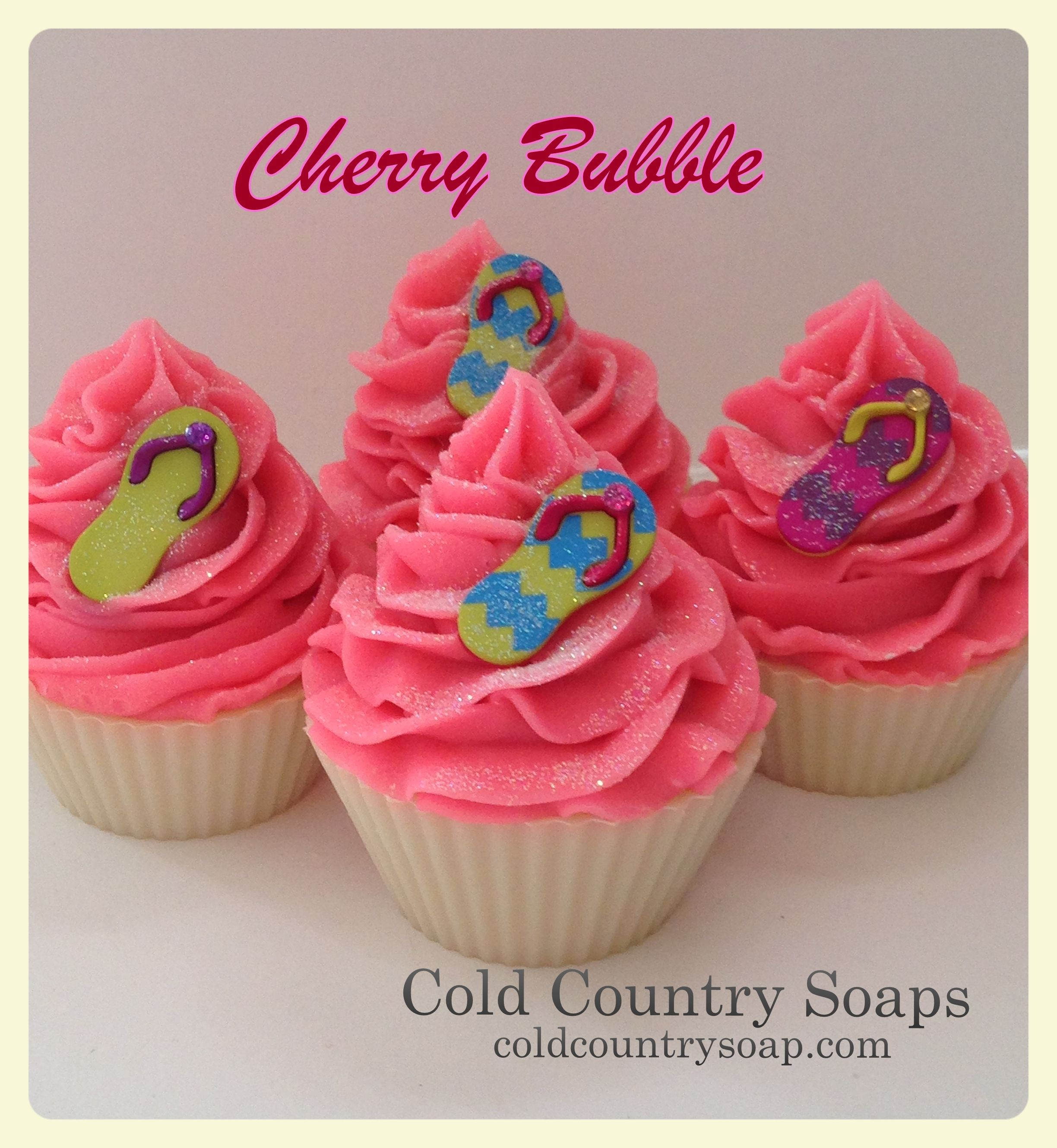 Cherry bubble cupcake soaps with a summer touch http