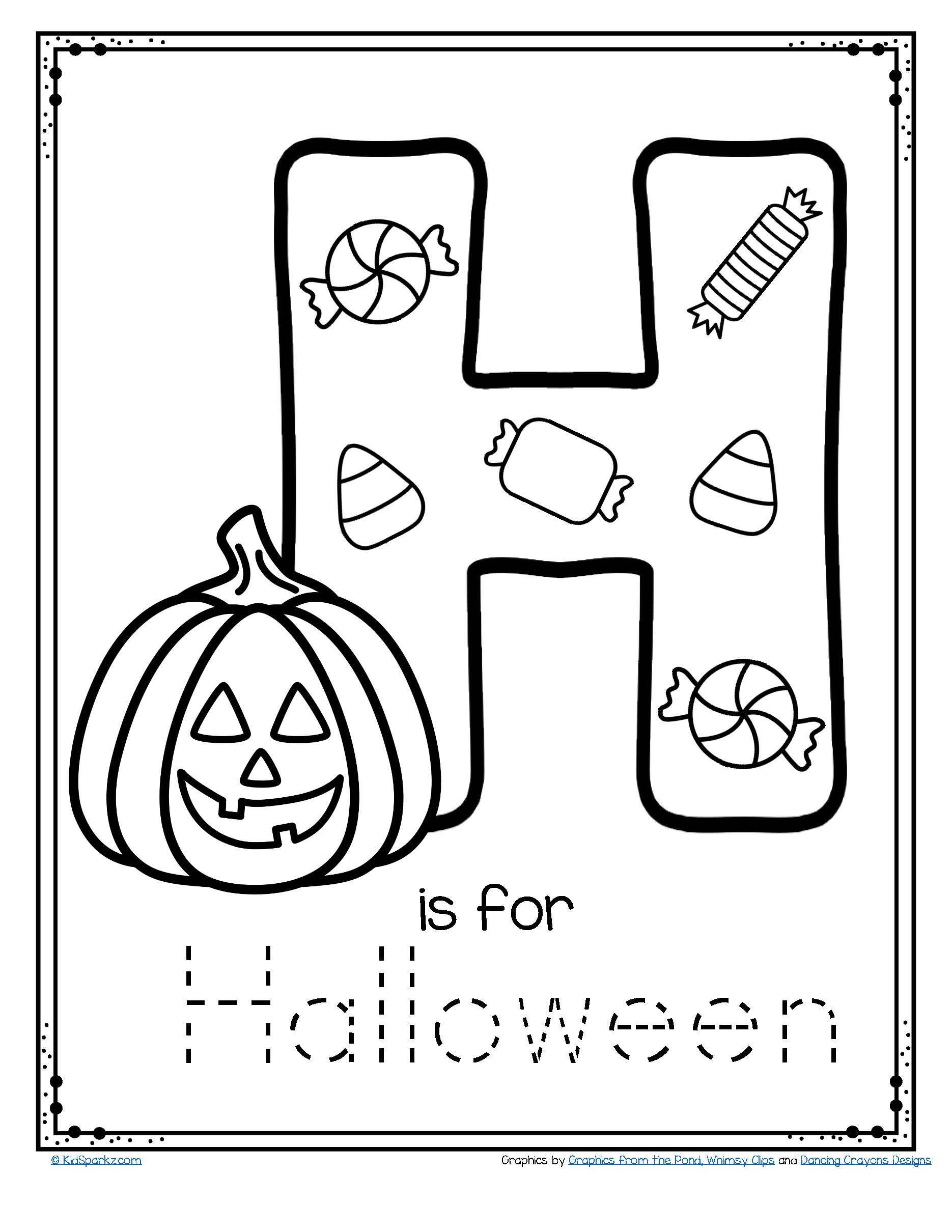 H is for halloween coloring pages ~ FREE H is for Halloween tracing and coloring alphabet ...