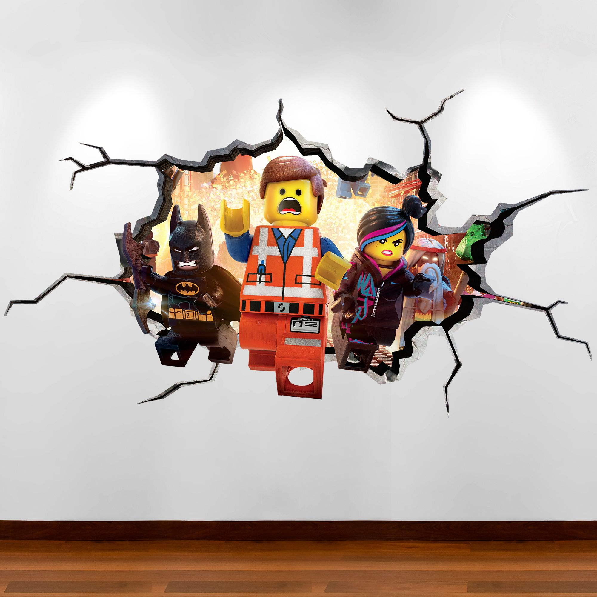 lego movie cracked wall explosion full colour wall art sticker decal