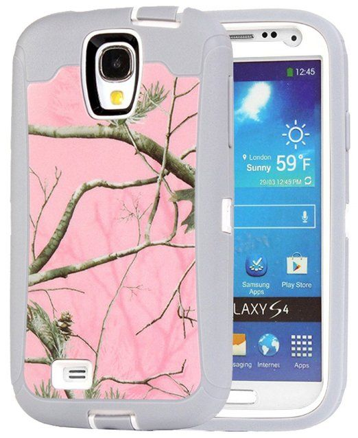 Huaxia Datacom Heavy Duty Hunting Tough Camo Tree High Impact Military Grade Hybrid Defender Case Cover for Samsung Galaxy S4 SIV i9500 (Don't Fit For Galaxy S4 Active/S4 Mini) - Pink Camo Tree on White Core