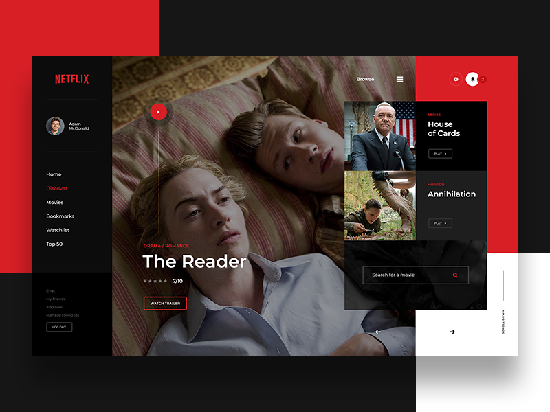 Netflix Website Concept Netflix Website Netflix Web Layout Design