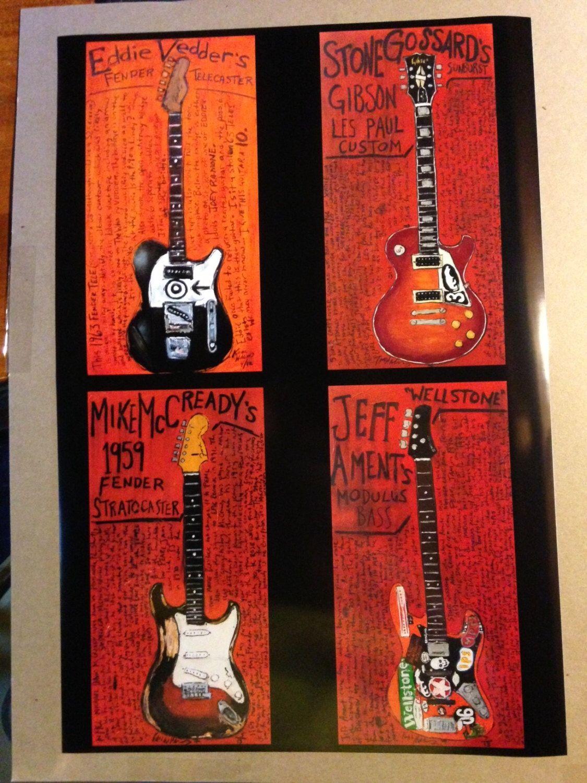 16x24 Pearl Jam guitar poster. 4 of the Pearl Jam guitars. by KarlHaglundArt on Etsy https://www.etsy.com/listing/161477764/16x24-pearl-jam-guitar-poster-4-of-the