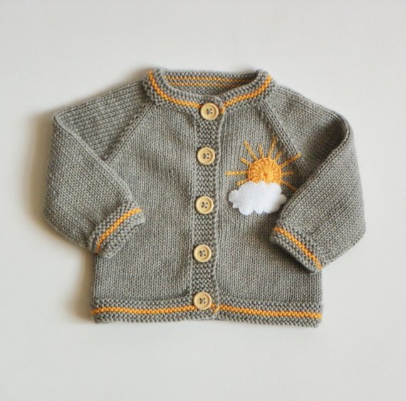 Knitted baby girl cardigan merino jacket wool sweater grey baby girl jacket with sun