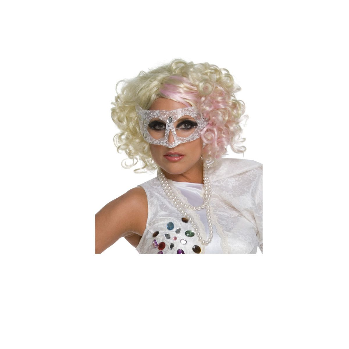 lady gaga curly blonde adult wig with pink highlights gaga curly blonde adult wig with pink highlights category costumes women hats and wigs - Halloween Costumes With Blonde Wig