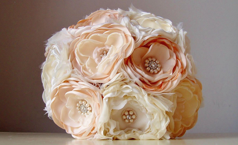 Fabric flower wedding bouquet via etsy im trying to learn how to fabric flower wedding bouquet via etsy im trying to learn how to make izmirmasajfo