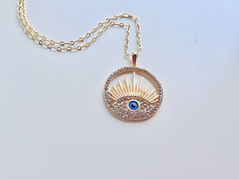 Evil Eye Charm Solid 14k Yellow Gold Nazar Pendant CZ Good Luck Medal 11 x 11 mm